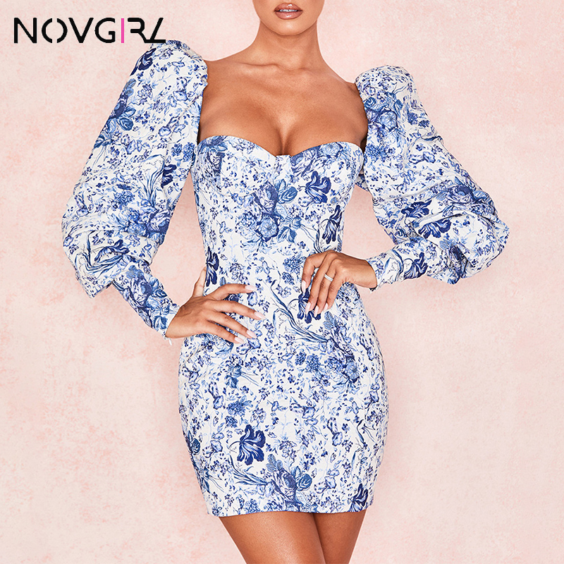 Novgirl Elegant Puff Sleeve Bodycon Pencil Dress Women 2019 Autumn Strapless Sexy Pary Dress Clubwear Vintage Blue Vestidos