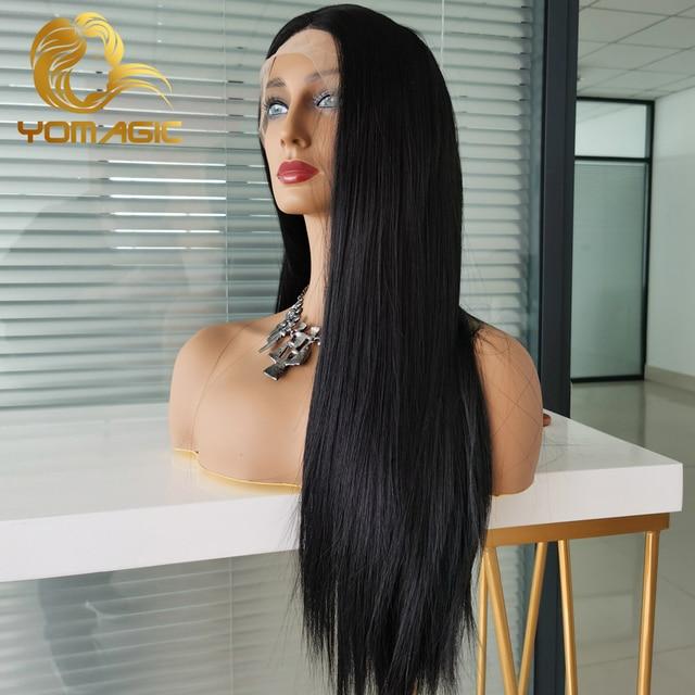 Yomagic-pelucas con encaje frontal para mujer, pelo sintético de Color negro, minimechones, liso, sin pegamento, prearrancado 2