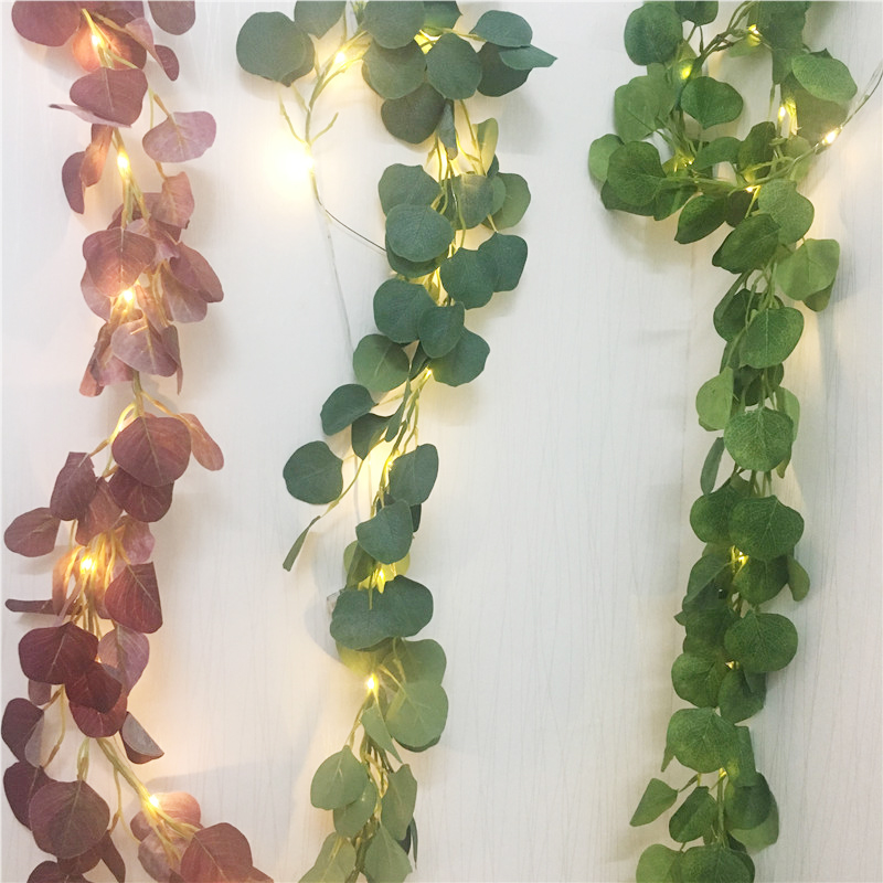 New Artificial Ivy Eucalyptus Leaves Fairy Led String 2M Garland Party Holiday Decor Lighting Led String For Wedding Home Led