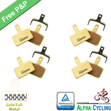 Bicycle Disc Brake Pads For Aquila, Auriga, Auriga E-Comp, Auriga Pro, Draco, Draco 2, Draco WS, Gemini, 4 Pairs, Gold