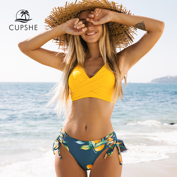 Yellow And Lemon Print Mid-Waist Bikini Sets 1