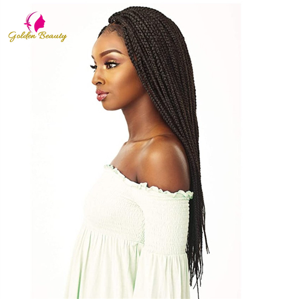 Golden Beauty 22inch Long Braided African Wig Box Braids Wig Natural Black Synthetic Braiding Hair Wig for Black Women