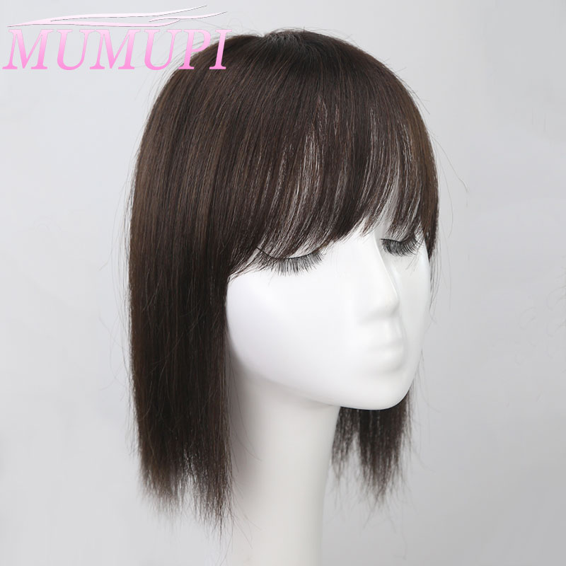 MUMUPI Women Natural Color Straight Hair Bang Fringe Top Closures Hairpins Natural Hair Clip In Toupee Hairpieces