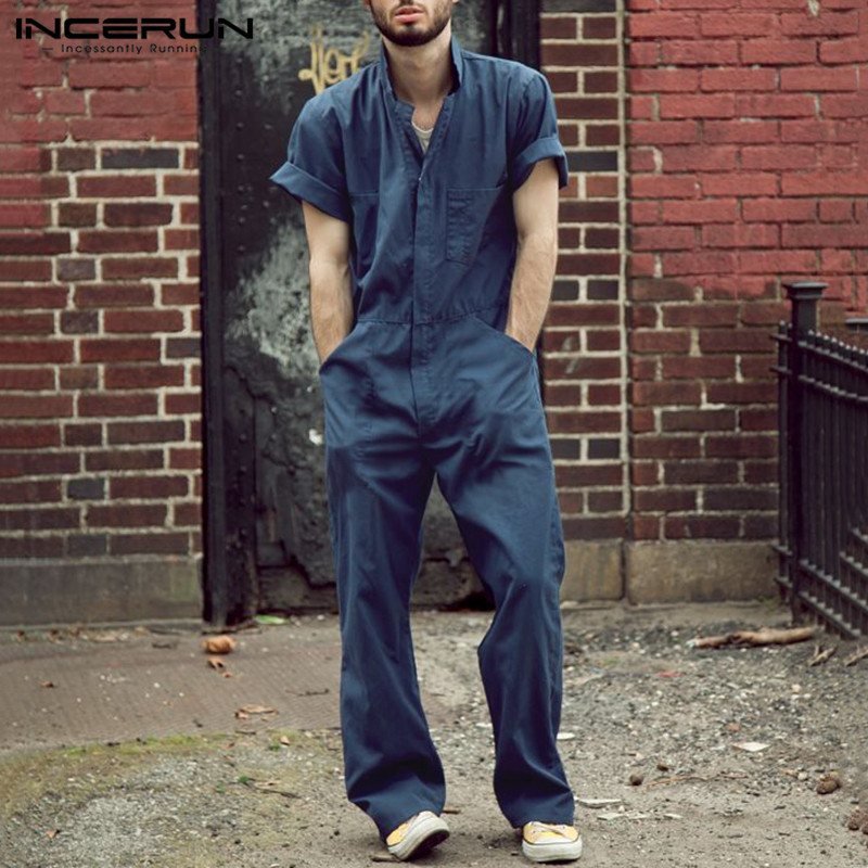 INCERUN Men Jumpsuits Casual Loose Solid Joggers Streetwear Shortsleeve Fashion Straight Pants Men Rompers Cargo Overalls S-5XL