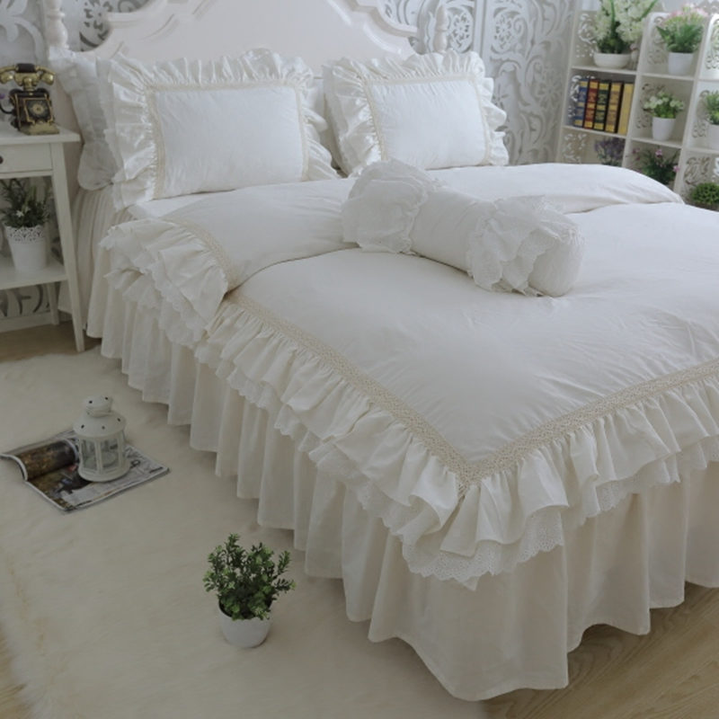 Top Luxury Bedding Set Queen Size Embroidery Ruffle Lace Duvet Cover Creamy-white Bedspread Princess Bed Beige Pillowcase HM-17W