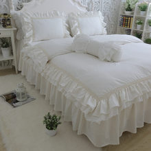 Pillowcase Bedding-Set Bedspread Duvet-Cover Princess-Bed Ruffle Queen-Size Luxury Embroidery