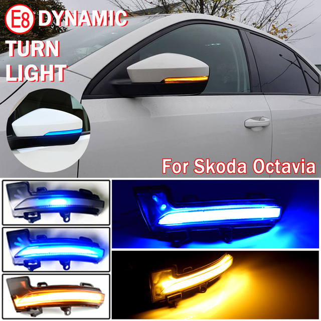 2Pcs แบบไดนามิก Blinker ไฟเลี้ยว LED Light สำหรับ Skoda Octavia Mk3 A7 5E สำหรับ VW T Roc Troc T Cross 2014 2015 2017 2018 2019 2020