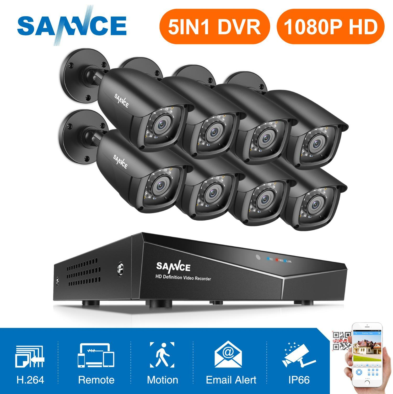 SANNCE 8CH 1080P Home Video Security System 5IN11080N HDMI DVR With 8PCS 1080P Outdoor Weatherproof Smart IR Camera CCTV Set Kit