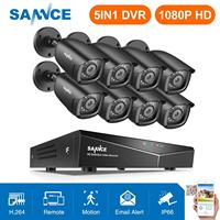 SANNCE 8CH 1080P Home Video Security System 5IN1 1080N HDMI DVR With 8PCS 1080P Outdoor Waterproof Smart IR Camera CCTV Set Kit
