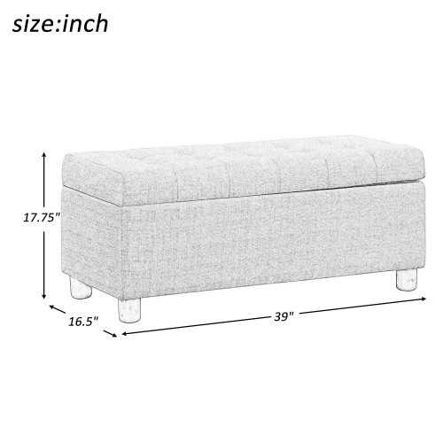 【USA in Stock】U_STYLE 39'' Storage Bench Tufted Linen Fabric Ottoman Storage Bench Beige , free dropshipping  out door furniture 5