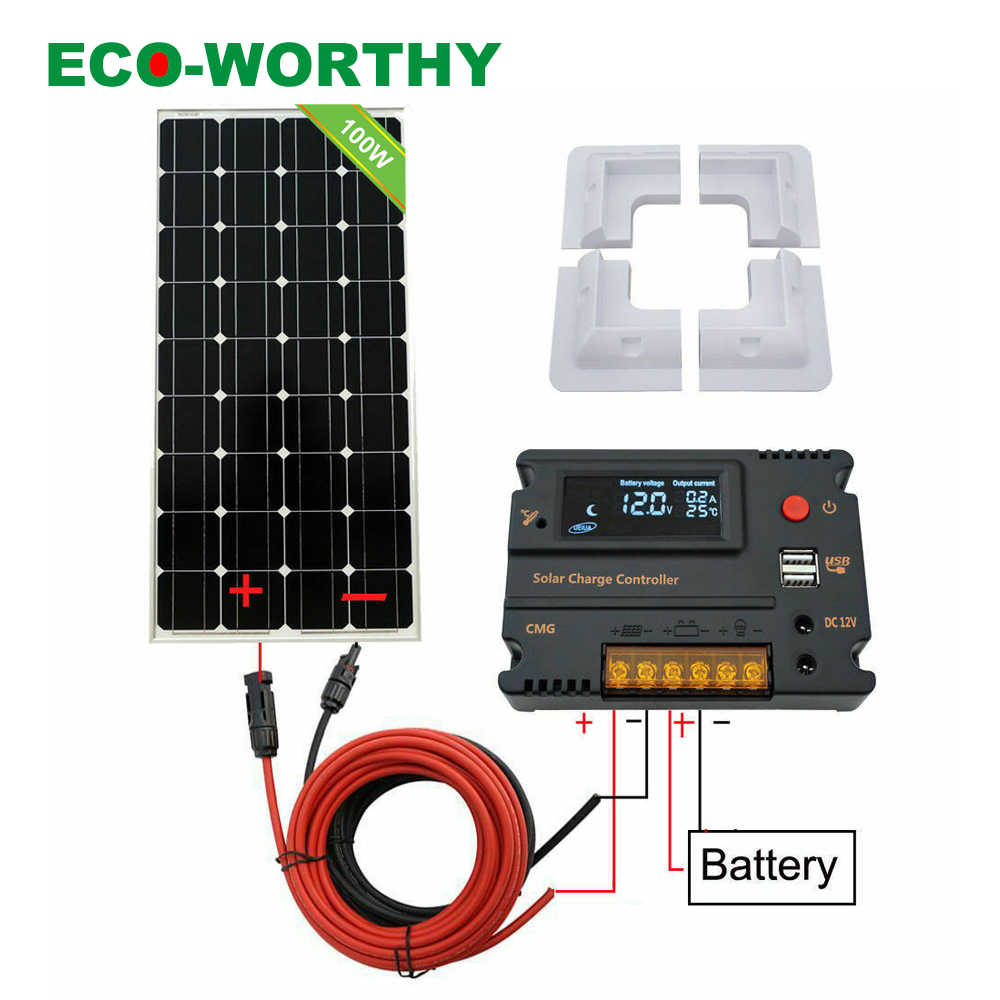 ECOWORTHY 100W Solar Panel kit 12V battery Charge 10A/20A Controller Caravan Boat Home RV Solar Cell 200W 300W Solar Charger