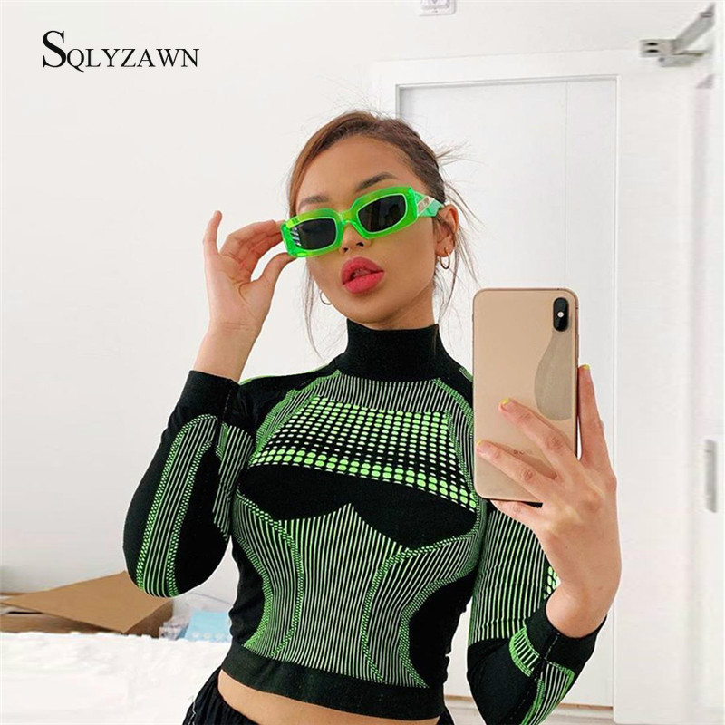 Summer New 3D Print Outfits Women Clothing Fasion Fitness Tracksuit Full Sleeve Crop Top Elastic High Waist Leggings 2ps Suit