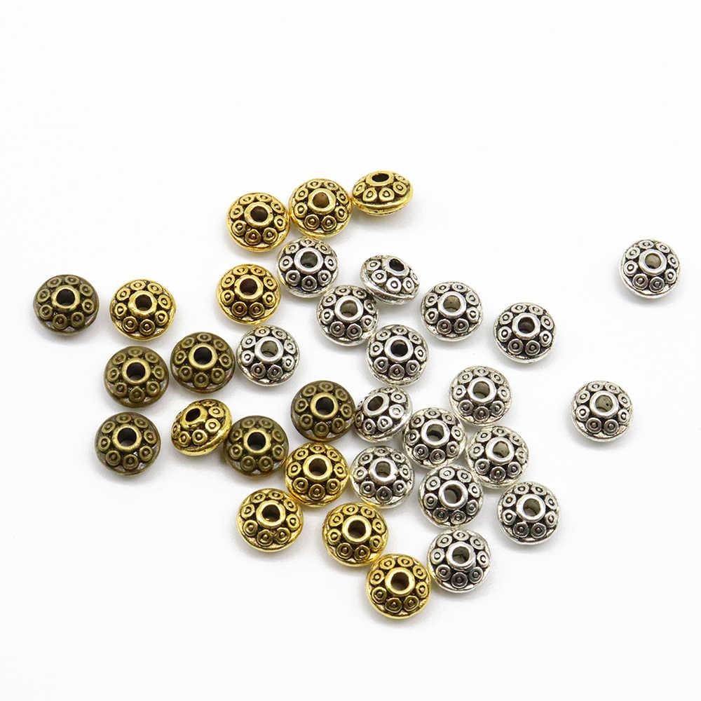 100 шт винтажные сплав плоские бусины 6*4 мм НЛО соединитель для бисера бусины DIY для ожерелья браслет ювелирные изделия