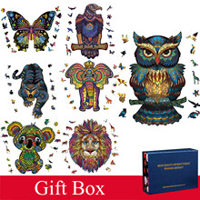 Boutique New Style Wooden Puzzle Gift Box for Adults Children Animal Shaped Christmas Gift Wooden Jigsaw Puzzle Hell Difficulty
