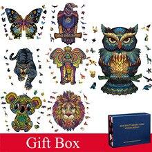 Boutique novo estilo de madeira quebra-cabeça caixa de presente para adultos crianças em forma de animal presente de natal quebra-cabeça de madeira dificuldade inferno