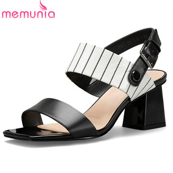 MEMUNIA 2020 new arrive women sandals mixed colors buckle summer square high heel sandals fashion casual party shoes ladies