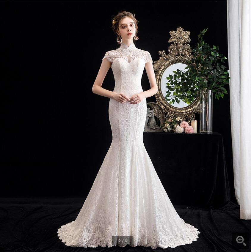 2020 Robe De Mariage White Lace Appliques  High Neckline Wedding Dress Hollow Back Sexy Corset Court Train Bridal Gowns Hot Sale