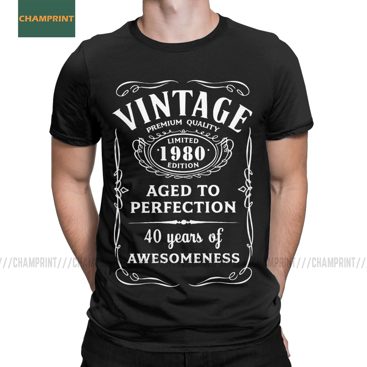 Vintage Limited 1980 Edition T Shirts For Men Cotton 40 T Shirt T-Shirts Round Neck 40th Birthday Gift Tee Shirt Short Sleeve