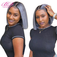 BD HAIR 1B/grey Short Bob Lace Wig Brazilian Remy Hair Straight Lace Front