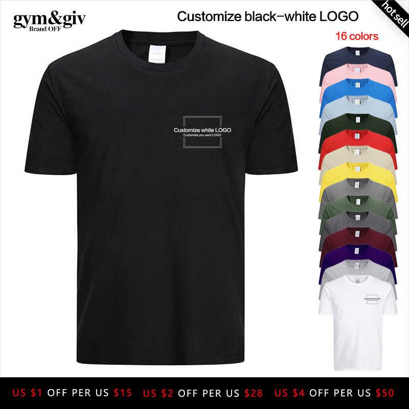 Moda masculina personalizar preto-branco logo t camisa de manga curta camisetas