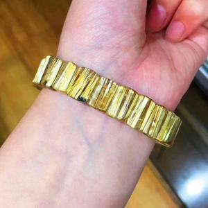 Image 4 - Высшее качество натуральный Золотой рутилированный кварцевый кристалл бразильский 12,3x8 мм кристалл драгоценный камень прямоугольные бусины браслет сертификат AAAAAA