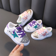 2021 Sping Autumn Unisex Sneakers for Baby Boys and Girls Sequins Fashion Shoes Slip-On Baby Boy Shoes Size 21-30 Soft Sole cheap PALDelphin 13-24m 25-36m CN(Origin) Spring Autumn Fits true to size take your normal size Geometric Lighted Mesh lptx