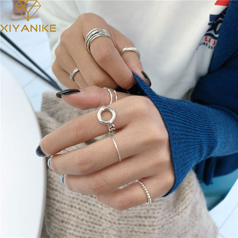XIYANIKE 925 en argent Sterling Double couche cercle creux anneau femelle minimaliste rétro mode à la main lisse torsion bijoux cadeau