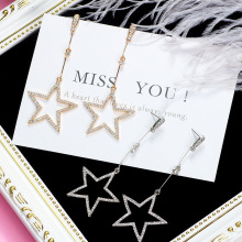 2019 Crystal Five-pointed Star Pendant Earrings Brincos Ladies Fashion Long Stars Manufacturers Wholesale