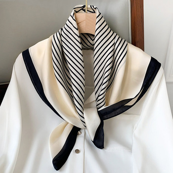 2021 Summer Luxury Brand Silk Scarf Square Women Shawls And Wraps Fashion Office Small Hair Neck Hijabs Foulard Scarves 70*70cm