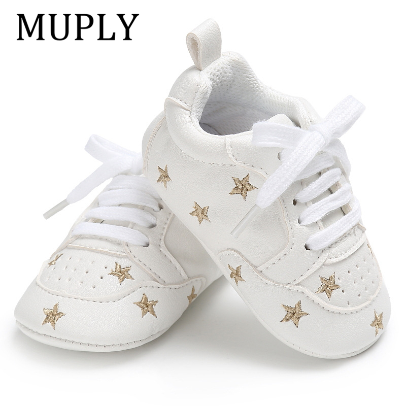 Newborn Print Heart Star Baby Sneaker PU Leather Baby Boys Girls First Walkers Soft Sole Infant Toddler Baby Shoes For 0-18M