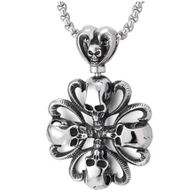 Vintage Mens Steel Skull Cross Heart Pendant Necklace Gothic Punk Jewelry