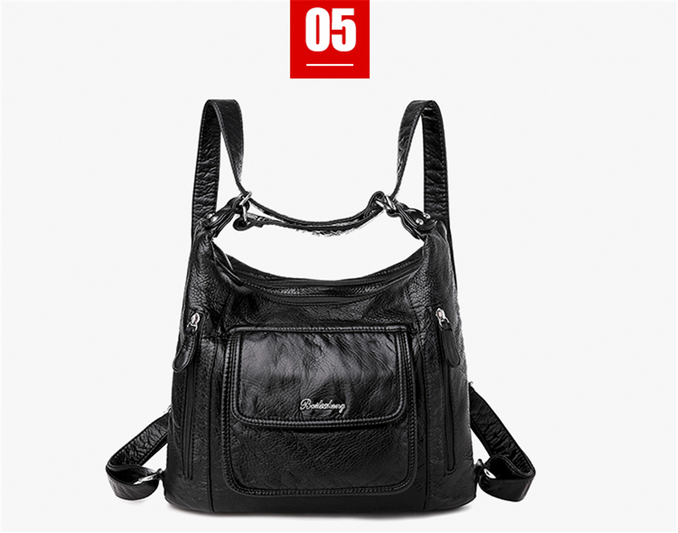 Hot Leather Luxury Handbags women bags designer Multifunction Shoulder Bags for Women 2020 Travel Back Pack Mochila Feminina Sac
