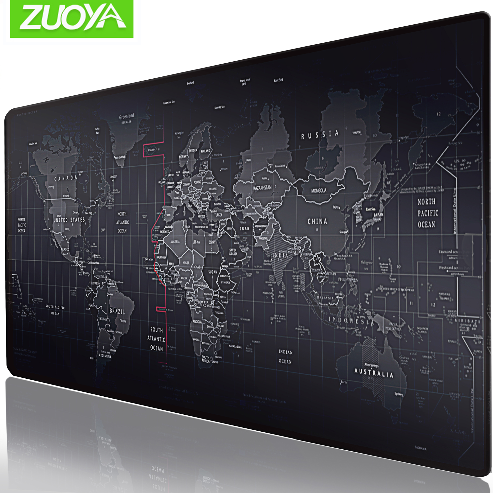 ZUOYA Extra Large Gaming Mouse Pad World Map Locking Edge Mouse Mat Gaming Mouse Anti-slip Rubber Mousepad For Game Laptop PC