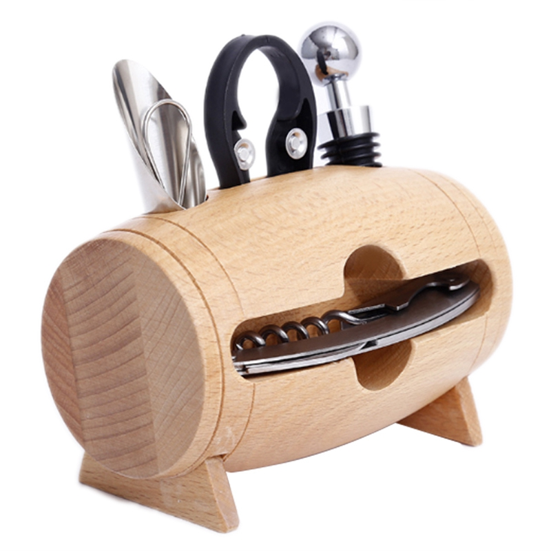 4 Pieces Bar Tool Set Wine Bottle Opener With Wood Box Stand Corkscrew Pourer Bottle Opener Accessory Home Visit Gift