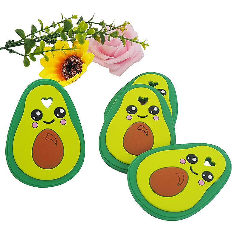 Chenkai 5PCS Silicone Avocado Teether Baby Animal Bird Teether For DIY Baby Nursing Chewing Teether Chain Pendant Necklace Toy