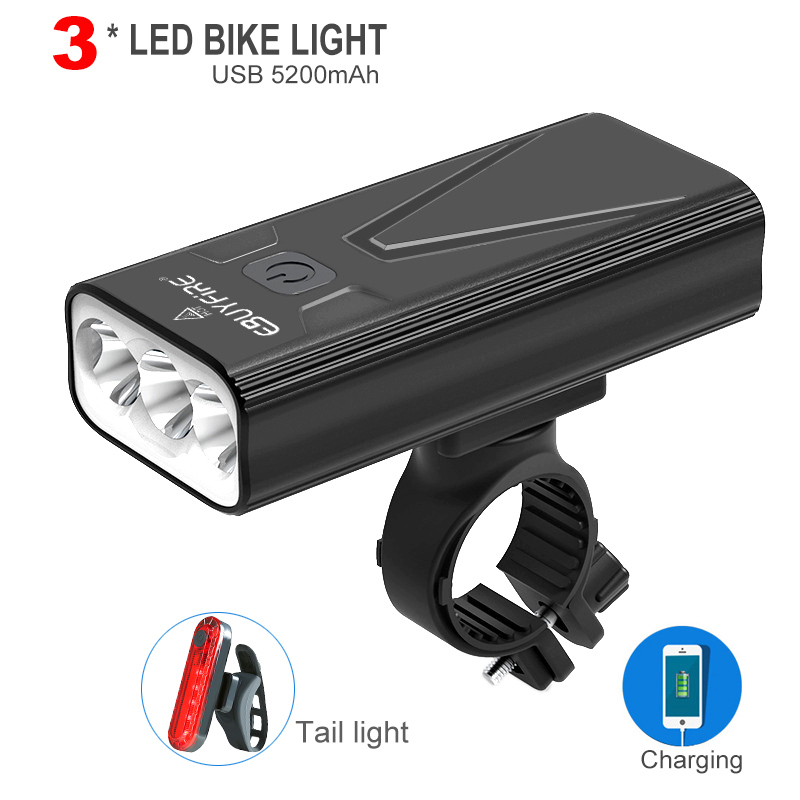 Intelligent LED Display Bicycle Headlight 5200mAh Power Bank Front Rear Lights