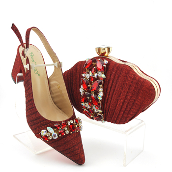 2020 Summer New Design Italian Women Matching Shoes and Bag Set African Style in Red color Color Ladies Wedding Shoes and Bag