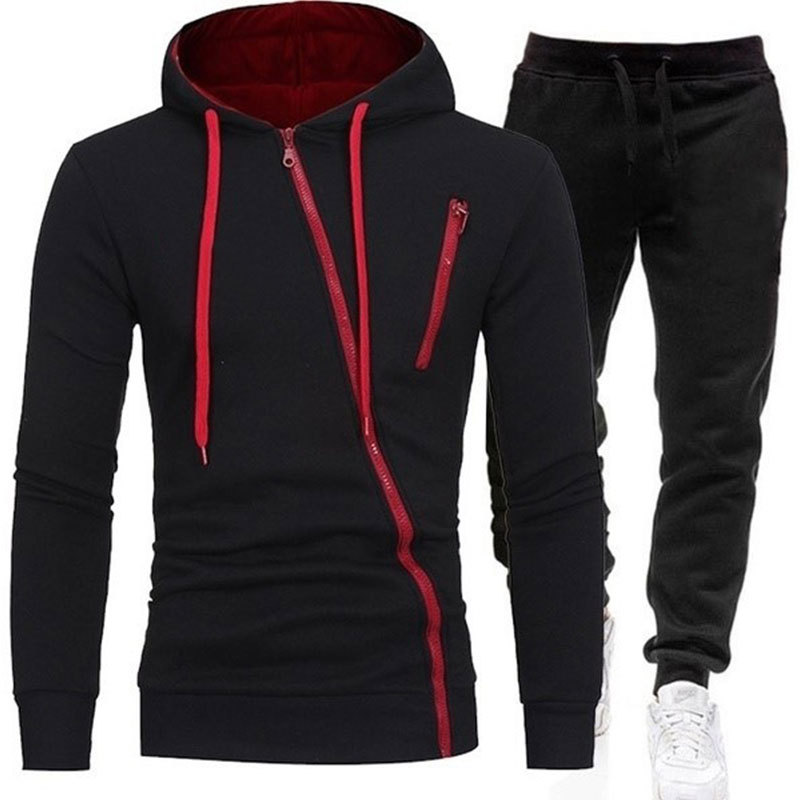 2020 New Men's Fashion Outdoor Sweatshirt Sports Casual Zipper Set Hooded   Pants 2 Piece Set