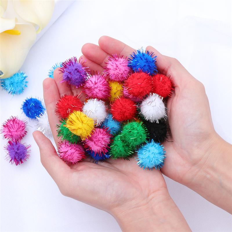 100Pcs 20mm DIY Decoration Pom Pom Colorful Creative Crafts Pom Poms Assorted Cat Toys Fluffy Balls Pon Pon For Kids Baby Rooms