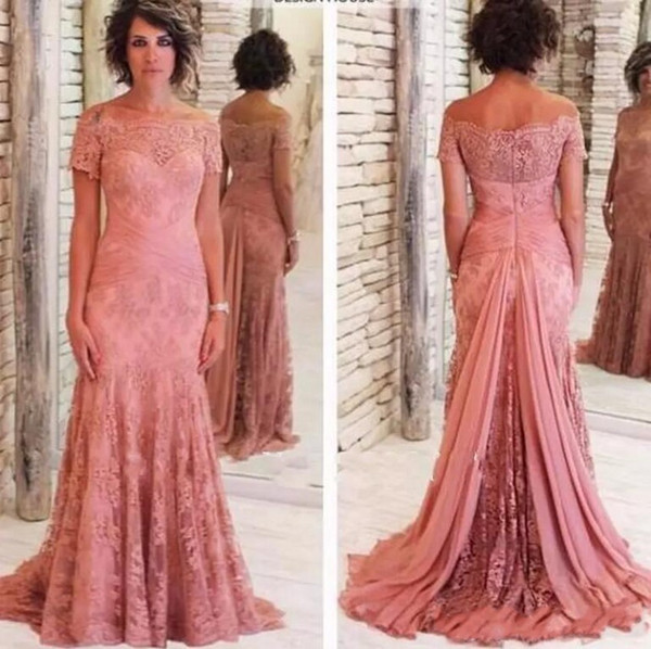 Plus Size 2019 Mother Of The Bride Dresses Mermaid Short Sleeves Tulle Appliques Lace Groom Mother Dresses For Weddings