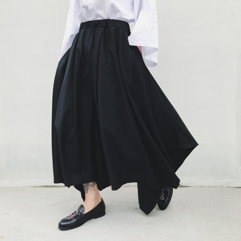 Spring Harajuku Mens Baggy Ankle Length Flare Wide Leg Irregular Pantskirt Loose Fit Elastic Waist Harem Pants Plus Size 18