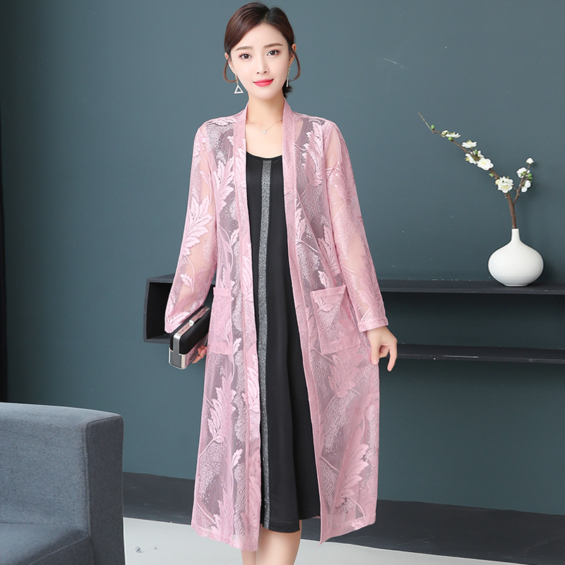 Fashion Lace Long Kimono Cardigan 20120 Summer Women Sunscreen Clothes Casual Thin Beach Blouse Loose Shirts Tops Femme