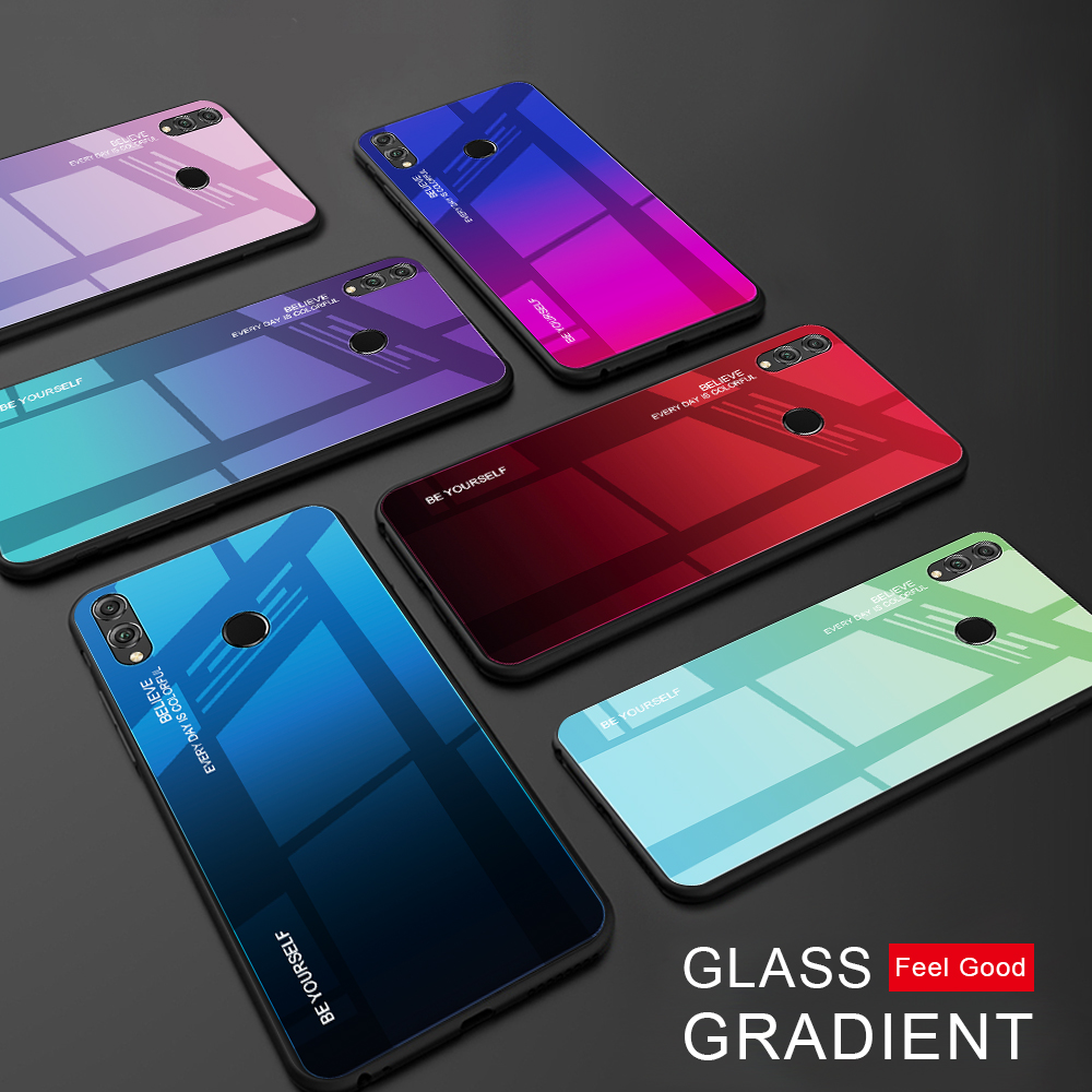 Gradient Glass Phone Case For Huawei Honor 8X 7A RU 7C Pro 5.99 Tempered Glass Cases For Huawei Y7 Prime 2019 Y9 Y6 Prime 2018