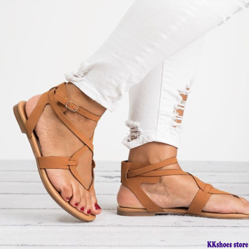 2020 Summer Women Sandals Size 35-43 Gladiator Ankle Strap Summer Shoes Woman Soft Bottom Beach Flat Sandals