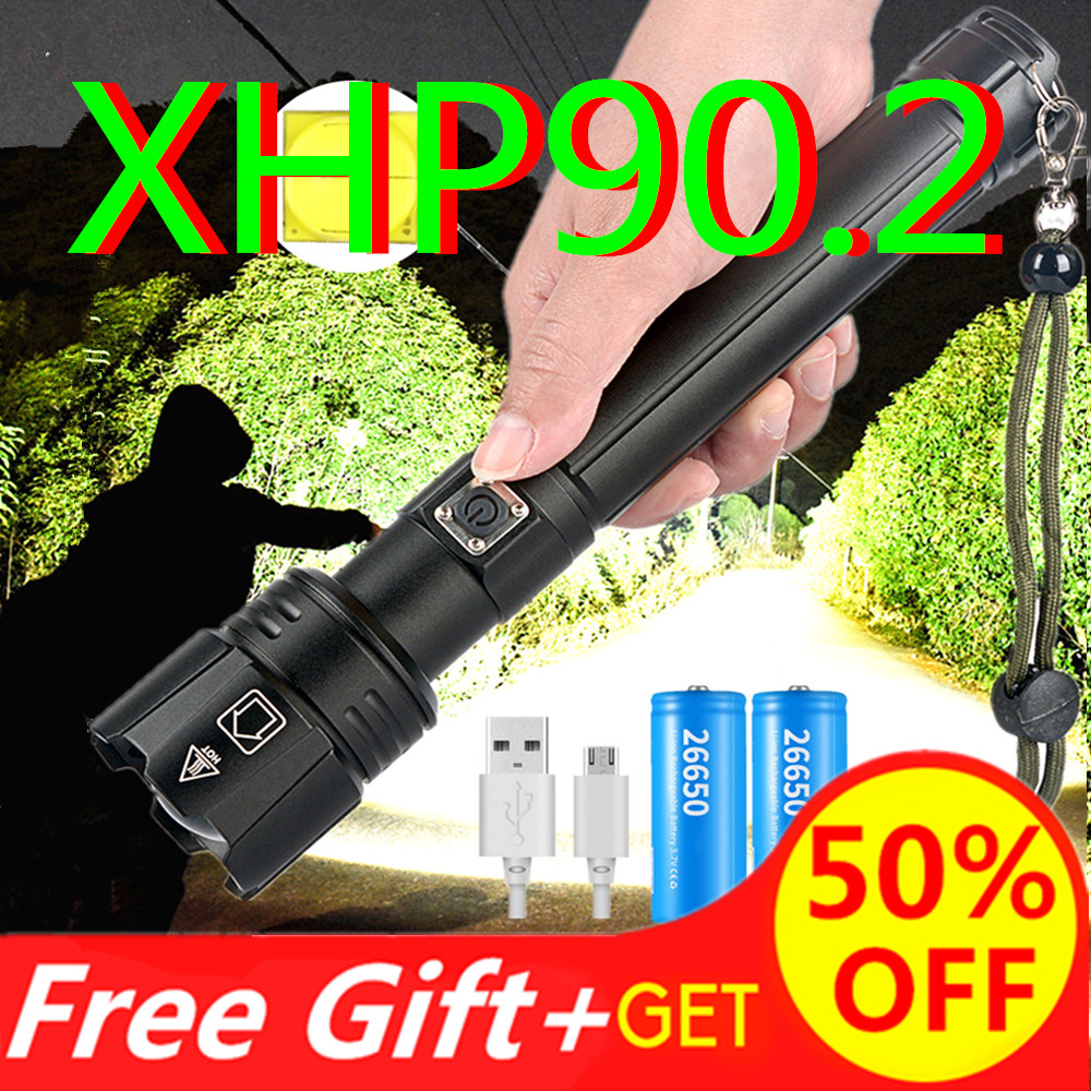 8000LM Super Bright XHP90.2 LED Flashlight 2020 NEW 26650 USB Rechargeable XHP70 Tactical Light 18650 Zoom Camp Waterproof Torch