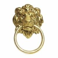 COTOM 1Pcs Brass Lion Head Door Knockers Front Door Wooden Door Pull Gold Traditional Style Hardware Door Knocker Decoration