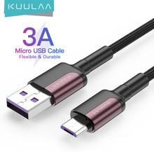 KUULAA mikro USB kablosu 3A naylon hızlı şarj USB veri kablosu Samsung Xiaomi LG için Tablet Android cep telefonu USB şarj kablosu
