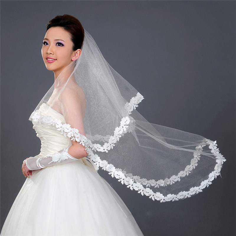 1.5m White One Layer Lace Edge White Ivory Cathedral Wedding Veil Long Bridal Veil Engagement Accessories 2020