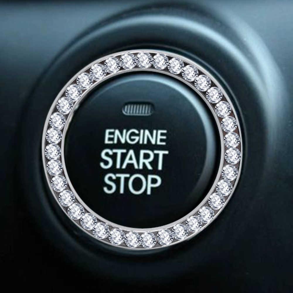 1 Xe SUV Bling Bạc Trang Trí Nút Bắt Đầu Chuyển Đổi Đứng Kim Cương Bạc Vòng Tròn Vòng Trang Trí Xe Ô Tô Công Cụ Phụ Kiện