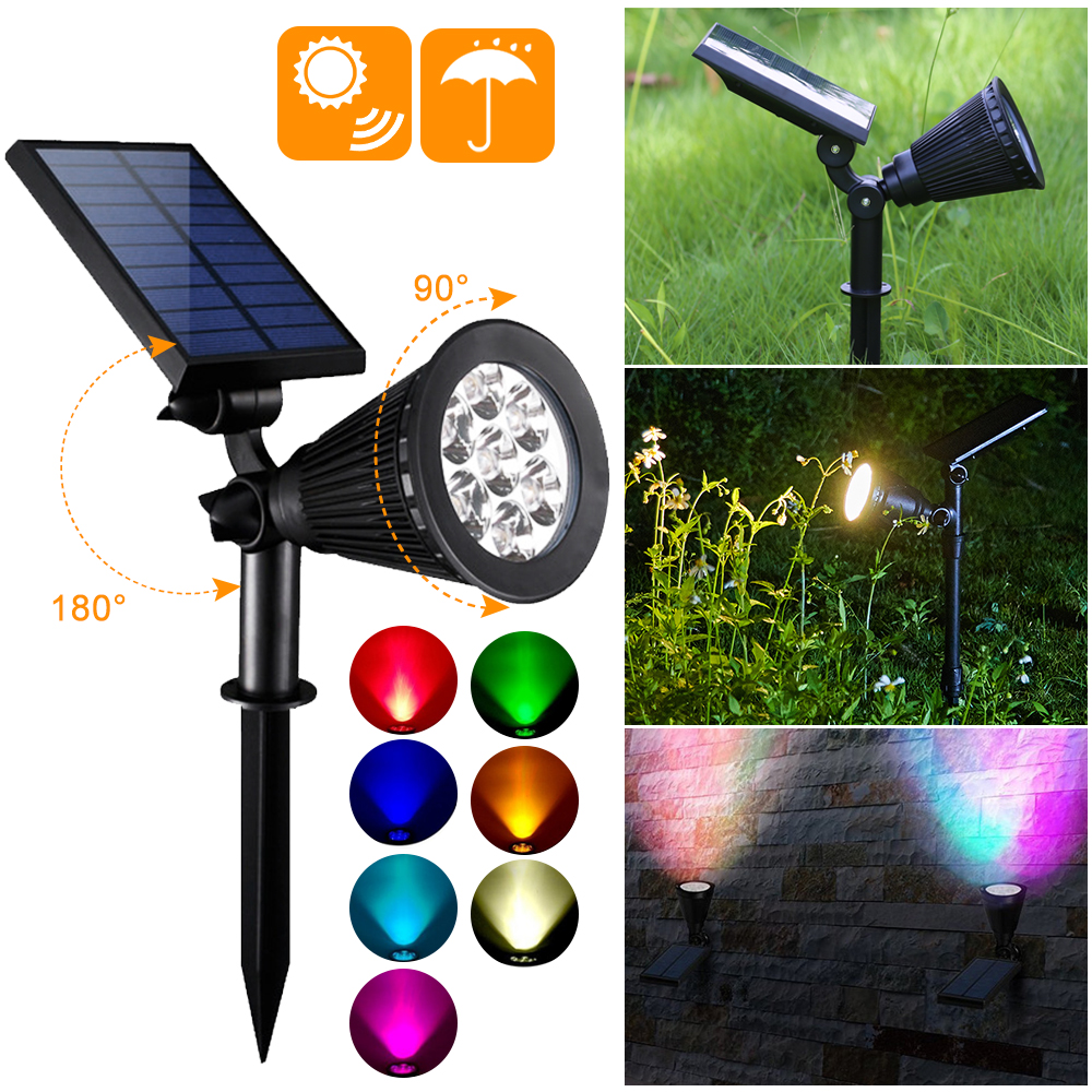 7 LED Solar Spotlight Lawn Flood Light Outdoor Garden  Adjustable 7 Color In 1 Wall Lamp Landscape Light For Patio Decor